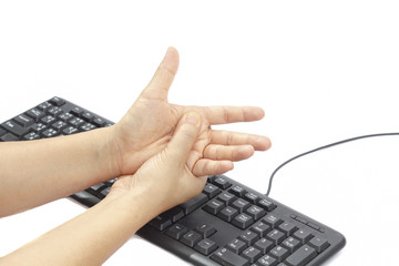 Painful hand due to prolonged use of keyboard and mouse.