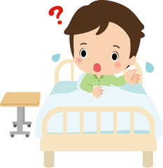 病室のベッドで困っている男性