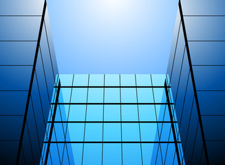 Blue glass office building vector abstract background