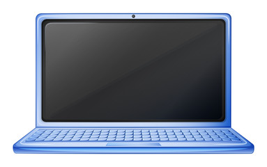 A blue laptop