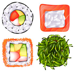 Topview of the different Japanese foods