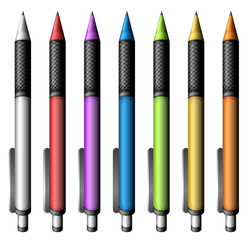 Set of colourful pens