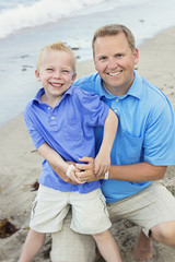 Father and Son Portrait on Beach