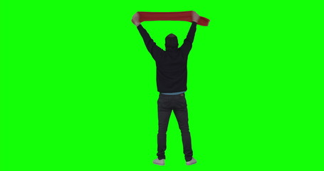 Football fan on green screen.