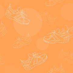 Sport Shoes Seamless Pattern White on Orange