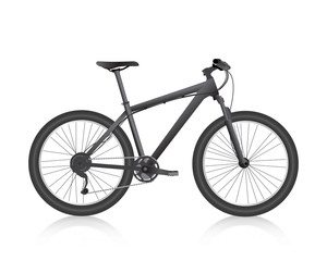Realistic mountain bike black. Vector