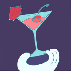 cocktail vector illustration, hand drawn