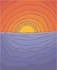 sunset at sea vector illustration, hand drawn