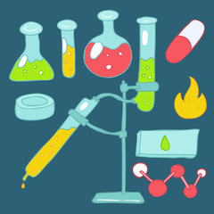 laboratory (chemical) test tubes vector illustration, hand drawn