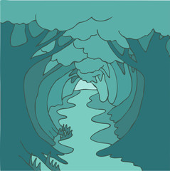 Magic forest (trees) alley vector illustration, hand drawn