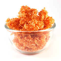 Red Sweet crispy noodles in a glass blow
