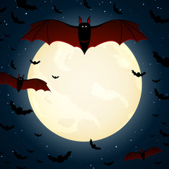 Vector Halloween Background with Bats