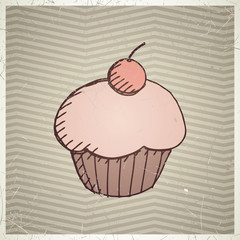 Vector Illustration of a Cup Cake Design