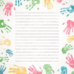 Vector Illustration of a Background with Colorful Hand prints