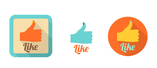 three like icons in retro flat style