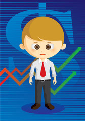 business man with graph on background