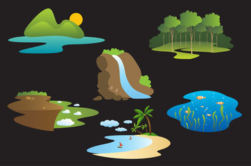 ecological and nature symbols, travel concept