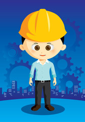 cartoon engineer with city and gear on background