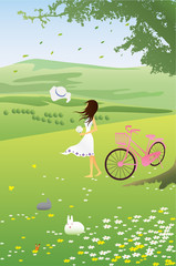 young woman with pink bike on mountain