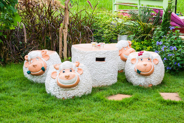 Sheep Shaped Concrete Table and Chairs