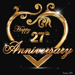 27 year anniversary golden heart design card7