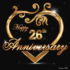 26 year anniversary golden heart design card