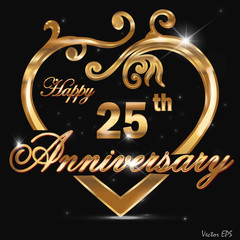25 year anniversary golden heart design