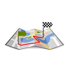 landkarte gefaltet mit route I