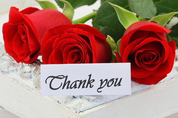 Thank you card with red roses