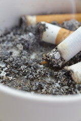 ashtray full of cigarettes close - up