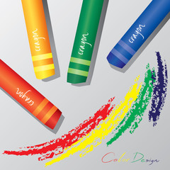 vector of the colorful crayons on a white