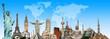 Leinwanddruck Bild - Travel the world monuments concept