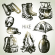 Hike and camping tourism hand drawn set. Sketch design elements - 66894612