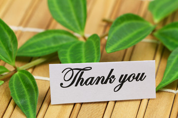 Thank you card with green leaves on bamboo mat