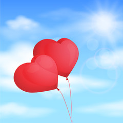 Red balloon, heart, background blue sky. Vector illustration