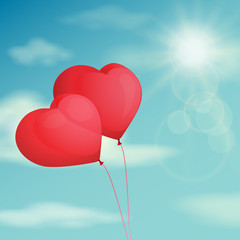 Red balloon, heart on the background  sky. Vector vintage filter