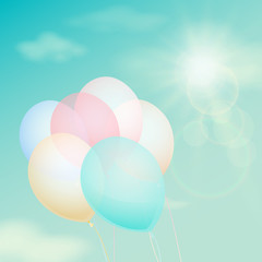 Colorful balloon on the background  sky. Vector vintage filter