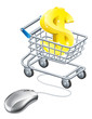 Dollar sign mouse trolley