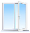 Vector format of half opened modern window - 66895235