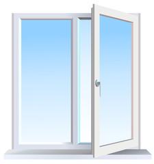 Vector format of half opened modern window