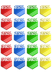 Vector format of colored discount and sale labels