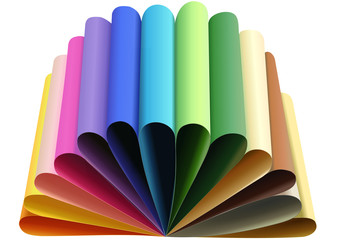 Vector format of thirteen colorful papers folded to arcs