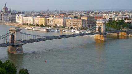Panorama of Budapest, Hungary. Chain Bridge and the Parliament.