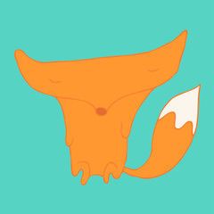 Cartoon fox. Vector illustration, hand-drawing