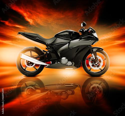 obraz-3d-motocykla-z-horyzontem-skyline