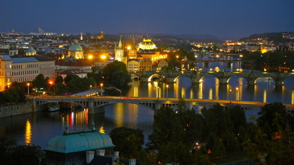 View of night Prague. Time lapse