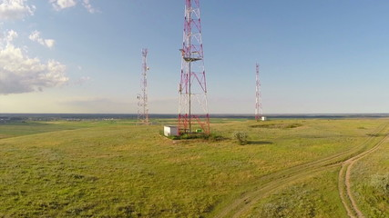 Communication towers aerial view