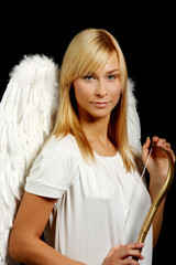 Blonde angel portrait