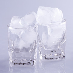 Small glasses full of ice