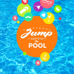 Summer holidays illustration with pool water and type design